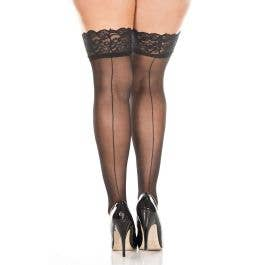 2d93a073af3 Plus Size Sheer Black Thigh High Stockings