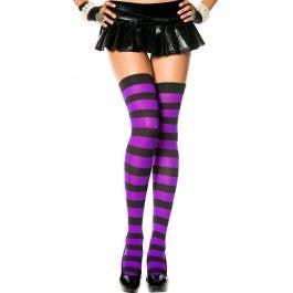 02e36838eb017 Black and Purple Striped Thigh High Stockings