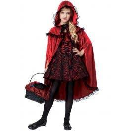 Girls Dark Little Red Riding Hood Costume Kid S Halloween Costumes