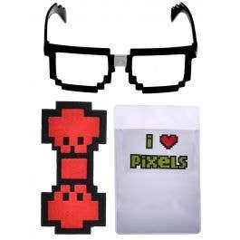 Red Blue Costume Business Necktie Choose Video Game Gamer Pixel-8 Blue Black