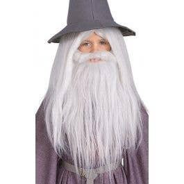 Deluxe White Wizard Wig Gandalf Dumbledore Merlin Thones Fancy Dress Halloween