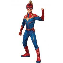 Deluxe Captain Marvel Hero Suit Girls Fancy Dress Comic Superhero Kids Costume