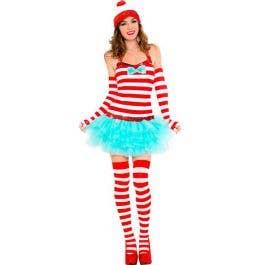Ladies Mens Red White Striped Wally Wanda Head Band Lycra Headbands Book Week