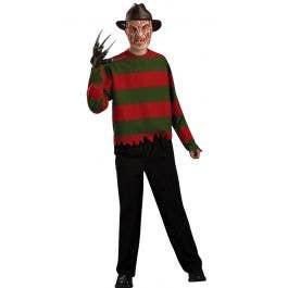 New Men/'s Womens Stripe Knitted Freddy Krueger Halloween Fancy Dress Jumper Top