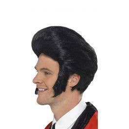 70/'s Classic Elvis Presley Wig Blk Pompadour Synthetic Hair Wig With Sideburns