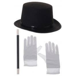 Deluxe Supreme Cap Steampunk Top Hat Black Scientific Goggles Costume Accessory