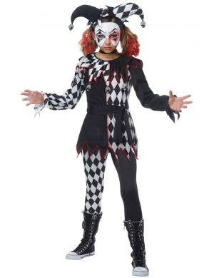 Creepy Jester Girl Harlequin Black And White Checkered Halloween Costume