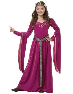 Girls Pink Medieval Princess Fancy Dress Costume Main Image