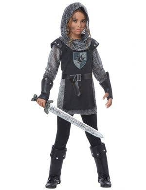 Girls Noble Medieval Knight Fancy Dress Costume Main View