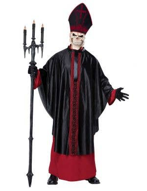 Men's Skeleton Minister Black Mass Halloween Costume