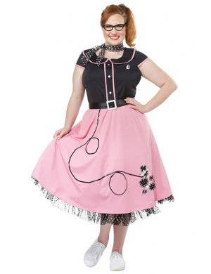 98beb5c82286 Women s Plus Size Pink and Black 50 s Poodle Skirt Retro Costume