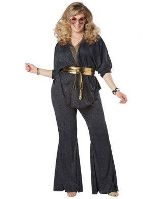 Plus Size Black And Silver Glitter Women's Dazzling Diva 70's Fancy Dress Costume