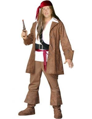 Men's Plus Size Captain Sparrow Pirate Costume Front View