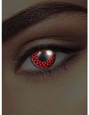 Checkers UV Reactive 90 Day Red and Black Contact Lenses