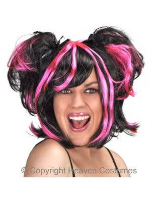 Women's Black And Pink Halloween Costume Wig