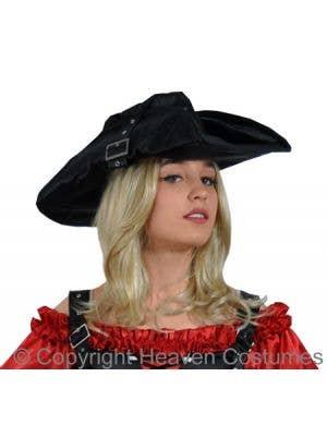 Black Satin Women's Pirate Costume Hat