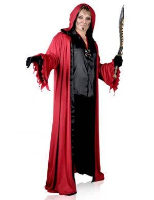 Men's Plus Size Long Red Lucifer Robe Halloween Costume Main Image