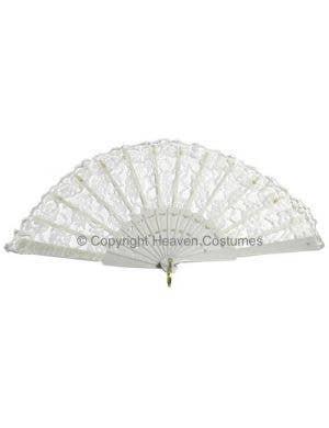 White Lace Adults Burlesque Costume Fan