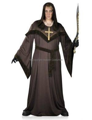 Sinister Monk Men's Plus Size Long Brown Hooded Robe Halloween Costume Main Image