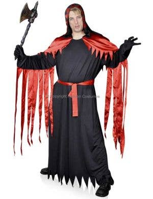 Men's Plus Size Black and Red Long Robe Halloween Costume Main Image