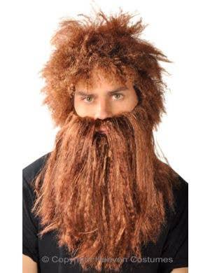 Bushy Brown Caveman Beard And Wig Set