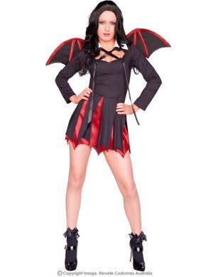 Sexy Women's Red and Black Bat Halloween Costume Main Image