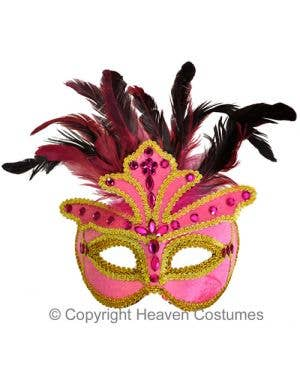 Pink Velvet Jeweled Masquerade Mask
