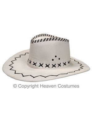 White Suede Look Cowboy Costume Hat