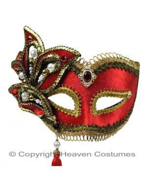 Red And Gold Masquerade Mask With Tassles Main Image