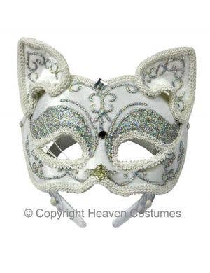 Full Face Silver Cat Masquerade Mask