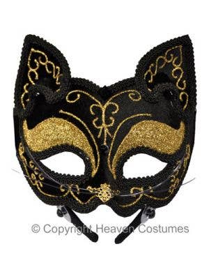 Black And Gold Cat Face Masquerade Mask On Headband