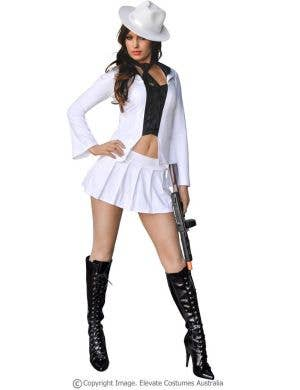 Women's White Sexy Gangster Costume Front View