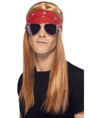 Men's Axl Rose Wig, Headband and Glasses Costume Kit