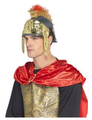 Adult's Red and Gold Roman Soldier Gladiator Costume Helmet