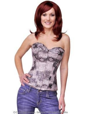 Snake Skin Corset in Charcoal Black