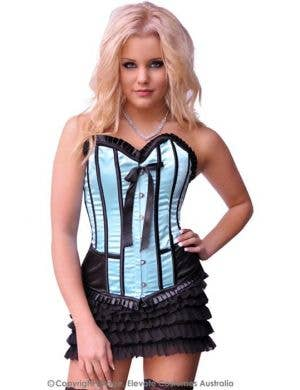 Satin Corset in Blue and Black