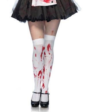 Blood Splattered Zombie Thigh High Costume Stockigns