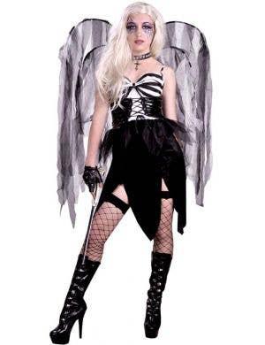 Women's Black and White Bad Fairy Halloween Costume Main Image