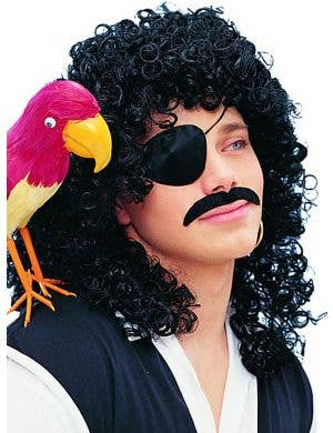 Captain Hook Men's Curly Black Pirate Costume Wig