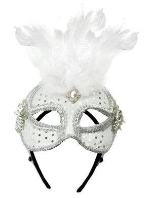Luxury White Mesh and Feather Masquerade Mask