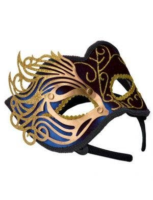 Fretwork Velvet Masquerade Mask in Blue