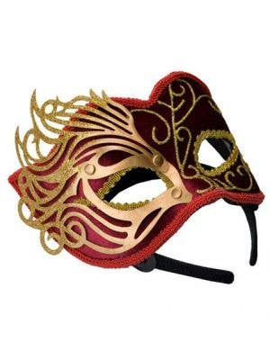 Fretwork Velvet Masquerade Mask in Red