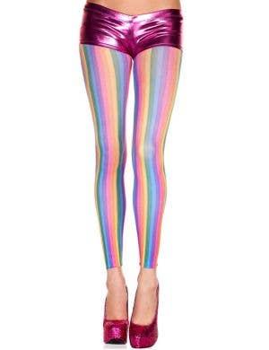 Opaque Vertical Striped Rainbow Leggings