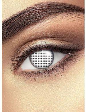 White Mesh Design Contact Lense