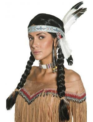 Native American Indian Black Wig with Plaits and Feather Image 1