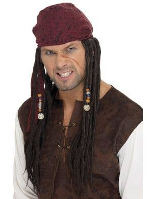 Men's Long Brown Dreadlocks Pirate Wig With Bandanna