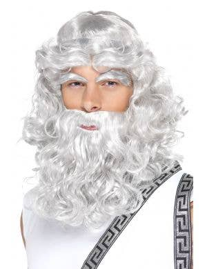 Long Wavy Grey Zeus Wig, Beard and Eyebrow Set