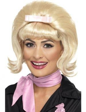 Women's 1950's flicked beehive blonde bob costume wig