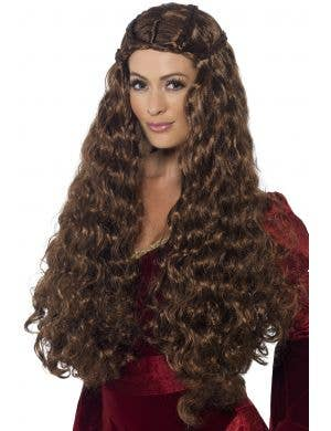 Medieval Princess Long Brown Curly Costume Wig Main Image