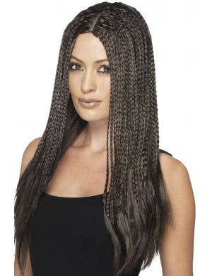 Women's 90's Long Brown Braided Wig with Thin Plaits Main Image